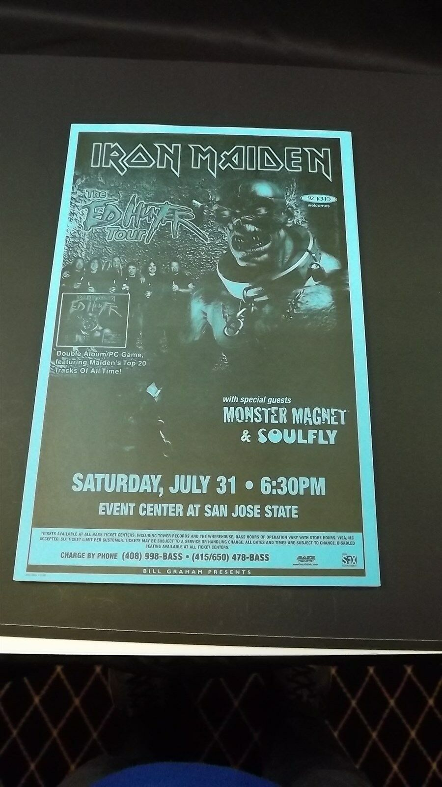 AUTHENTIC 1998 Iron Maiden Ed Hunter Tour Poster Flyer Ad SOULFLY 1