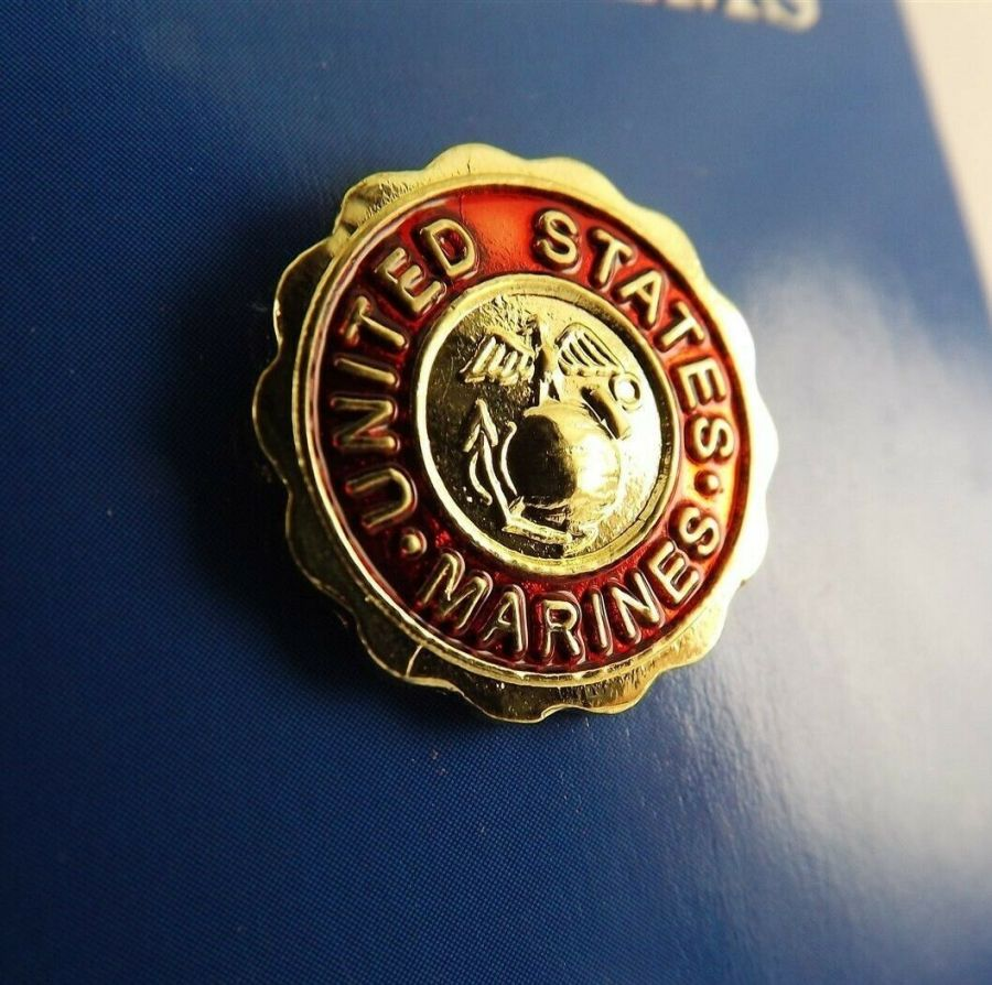 "BRAND NEW Lapel Pin United States Marines Emblem Red Enamel 3/4"" 1"