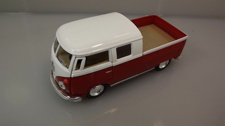 Die Cast RED 1963 Double Cab Pickup Volkswagen Classic Bus 1:34 Scale New 1