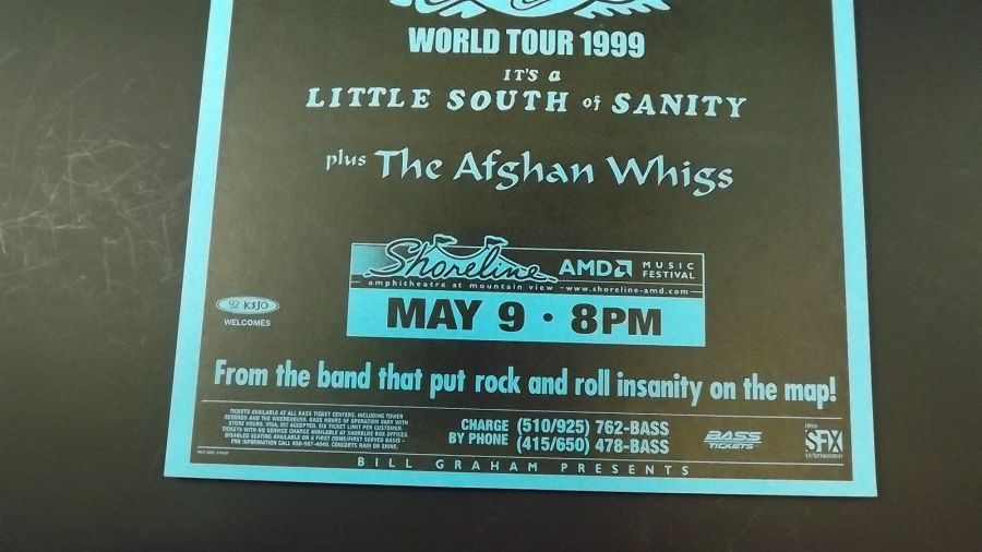 Genuine 1999 AEROSMITH World Tour Music Concert Poster Flyer Ad W/ AFGHAN WHIGS 3
