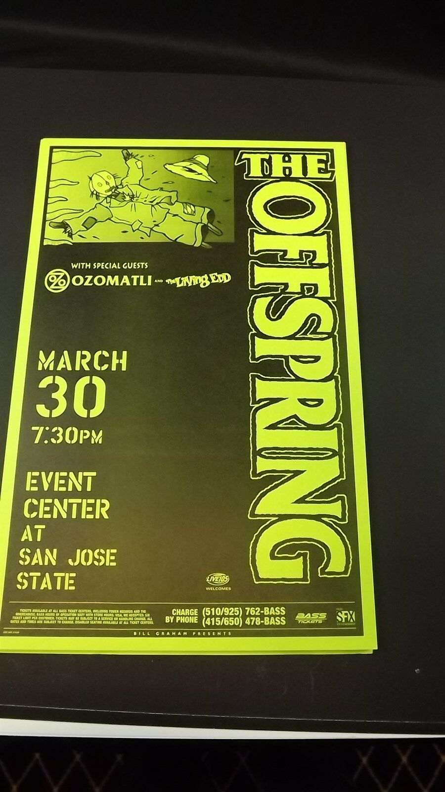 Genuine 1999 THE OFFSPRING W/ OZOMATLI San Jose State Concert Poster Flyer Ad 1