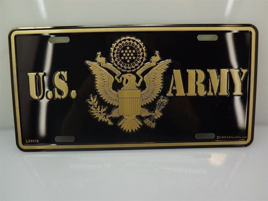 LICENSE PLATE U.S. ARMY EAGLE LOGO STANDARD SIZE MILITARY BRAND NEW EMBOSSED 1