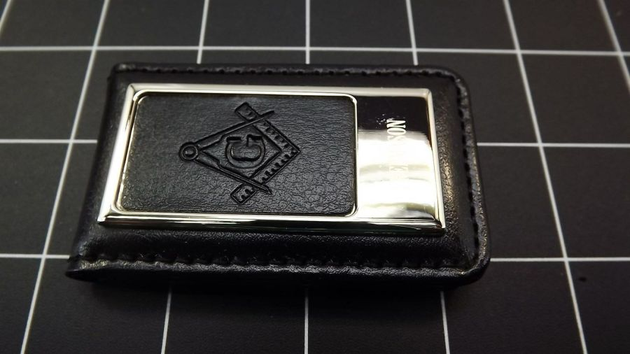 Masonic Money Clip, Square and Compass  MASON FREEMASON LEATHER/STEEL BRAND NEW 4