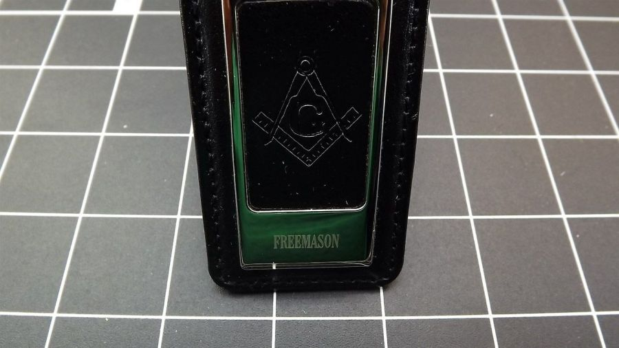 Masonic Money Clip, Square and Compass  MASON FREEMASON LEATHER/STEEL BRAND NEW 6