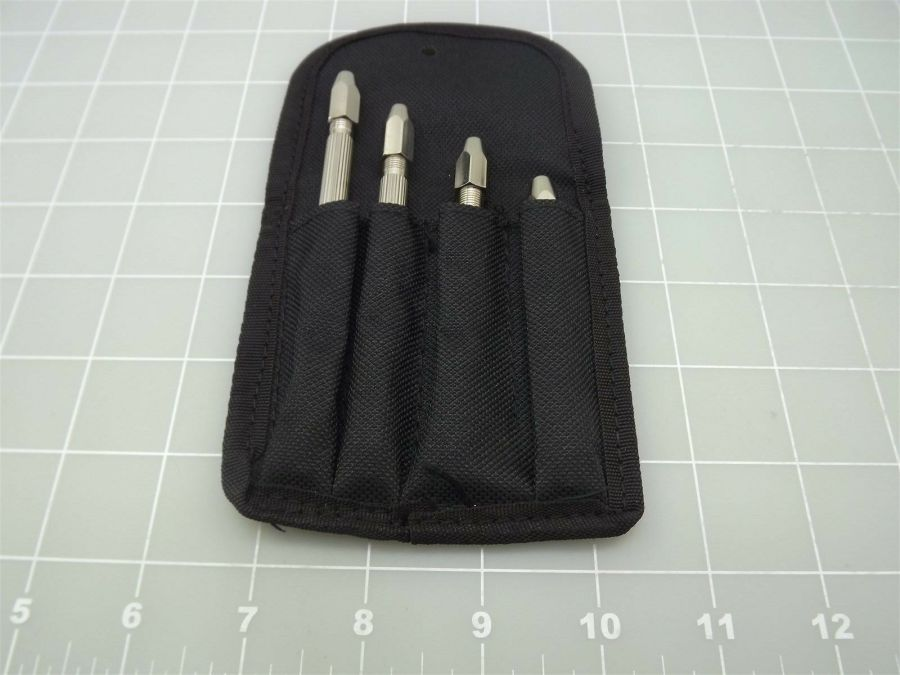NEW 4 Pc Double Mouth Pin Vise Set in Pouch ,Chrome Plated Brass JEWELERS VICE 3