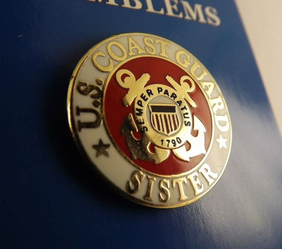 "BRAND NEW Lapel Pin United States Coast Guard SISTER Red & White Enamel 15/16"" 1"