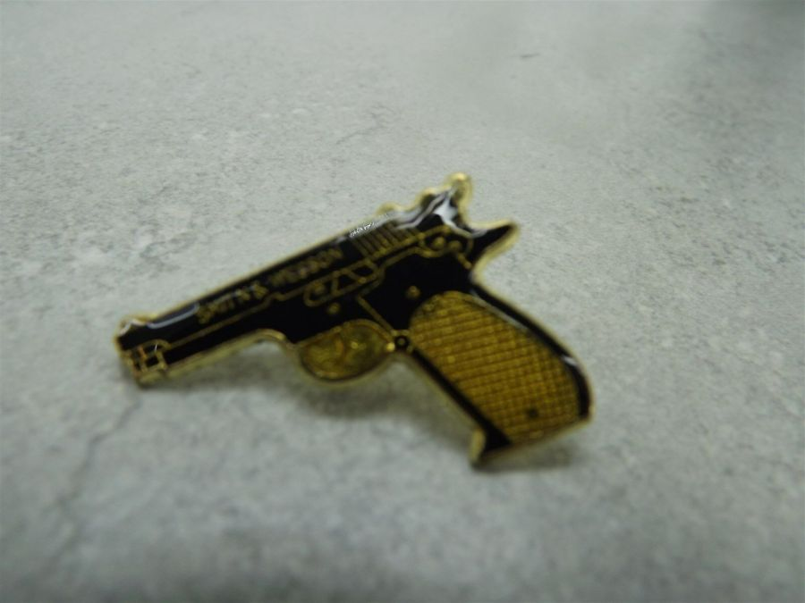 Smith and Wesson Military 38 Caliber Pistol Black and Gold Color Lapel/Hat Pin brand new lifetime Guaranty 1