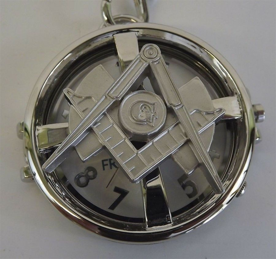New Silver Tone Masonic Mason Pocket Watch With Protective Case Square & Compass 3