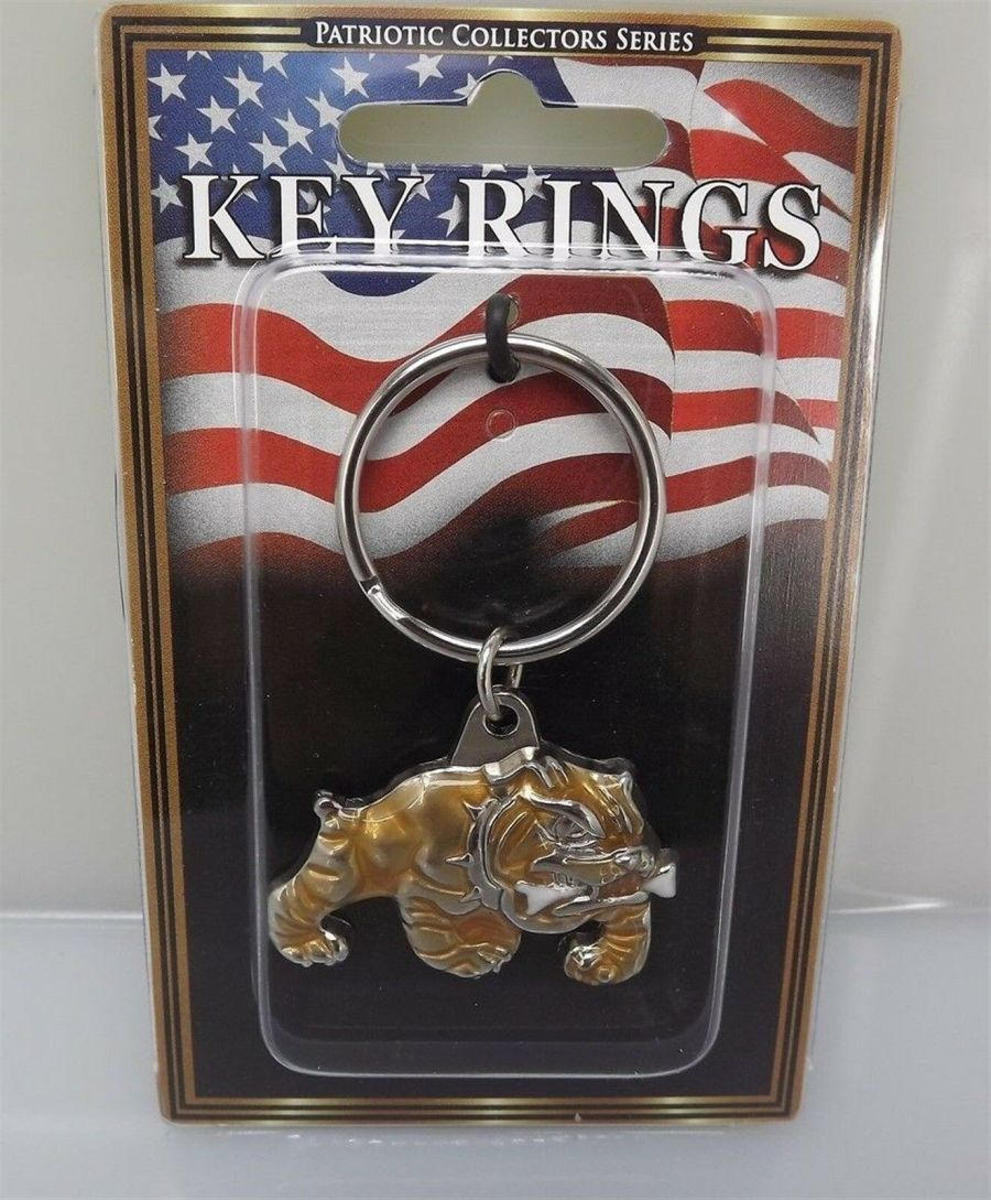 "PEWTER KEY RING KEYCHAIN NEW USMC MARINES ""BULL DOG"" MARINE CORP 1"