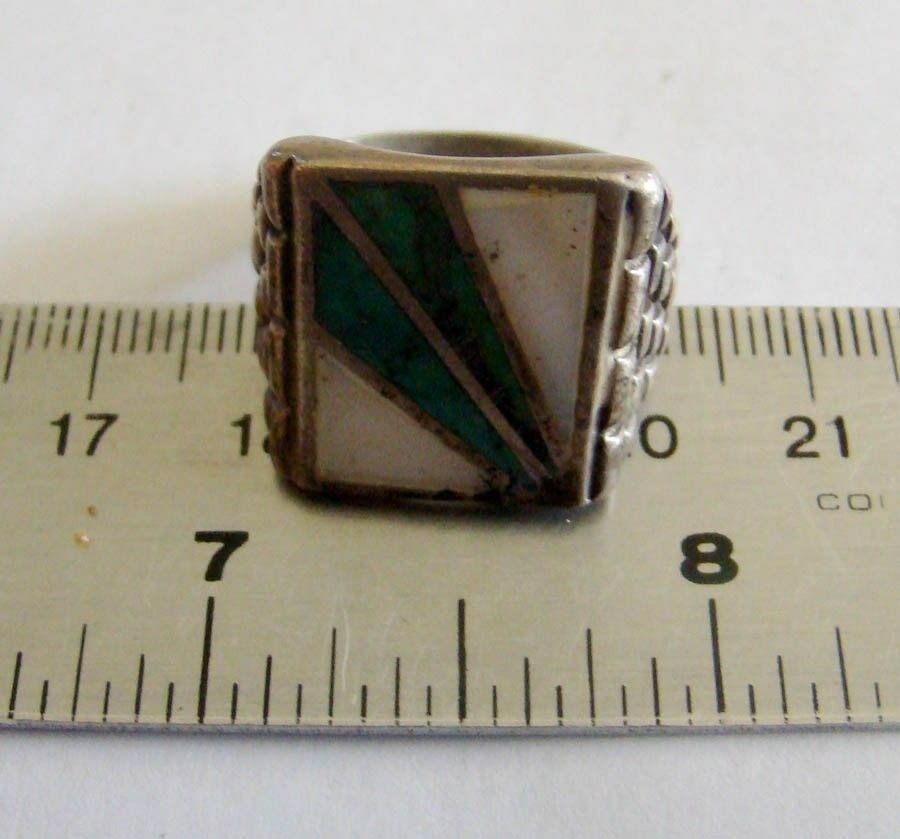 Sterling Silver Inlaid Spray Design Turquoise & Mother of Pearl Ring 4