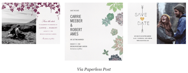 A sample of 3 creative eco-friendly save-the-dates that you can send via Paperless Post