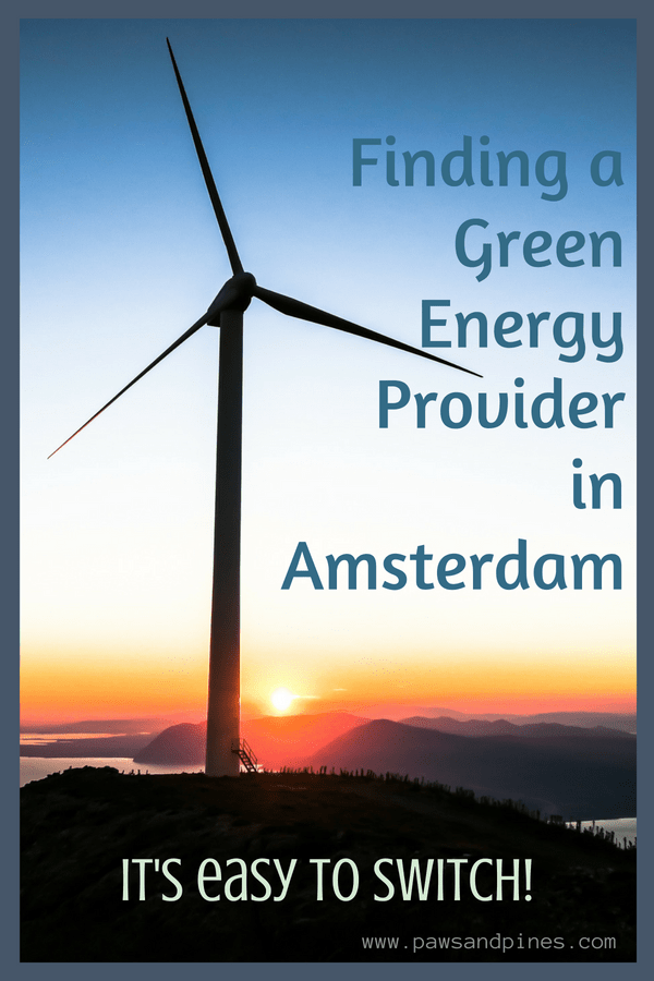 Windmill with text overlay: Finding a green energy provider in Amsterdam