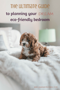 A dog on a mattress with text overlay: the ultimate guide to planning your dream eco-friendly bedroom