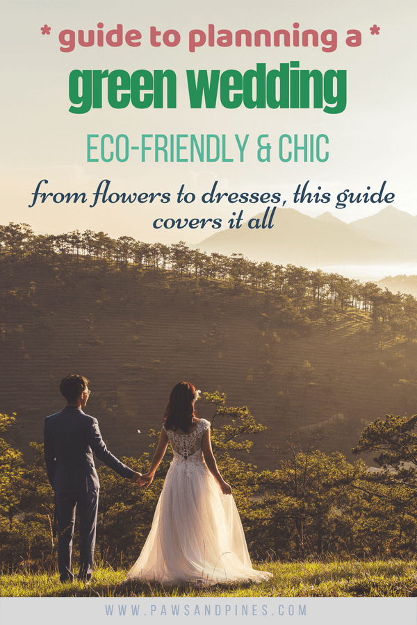 Bride and groom looking into the distance with text overlay: guide to planning a green wedding eco-friendly & chic