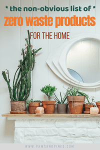 A mantle lined with potted plants with text overlay: the non-obvious list of zero-waste products for the home