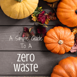 Array of pumpkins with text overlay 'A Simple Guide to a Zero Waste Halloween'