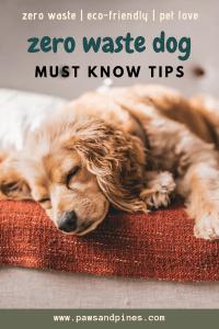 "sleepy dog with text overlay ""zero waste dog | must know tips"""