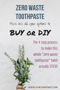 "A bunch of herbs with text overlay: ""Zero Waste Toothpaste 