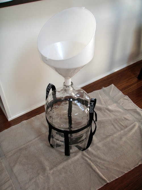 funnel and carboy set up ready for transfer