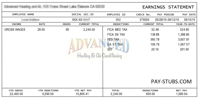 Pay Stub Template FREE DOWNLOAD - Free 1099 pay stub template