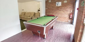 Pool table in Shared social area