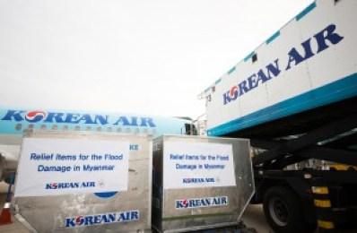 Korean Air delivers flood relief goods to Myanmar.