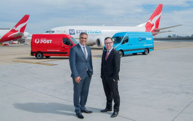 Ahmed Fahour, Managing Director & Group CEO Australia Post (left) and Qantas Group CEO, Alan Joyce.