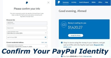 Confirm your Paypal Identity
