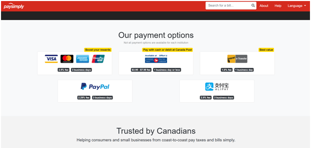 Paysimply site to pay taxes with PayPal