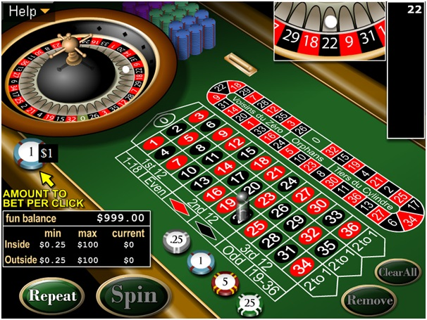 Type of Bets to play European Roulette