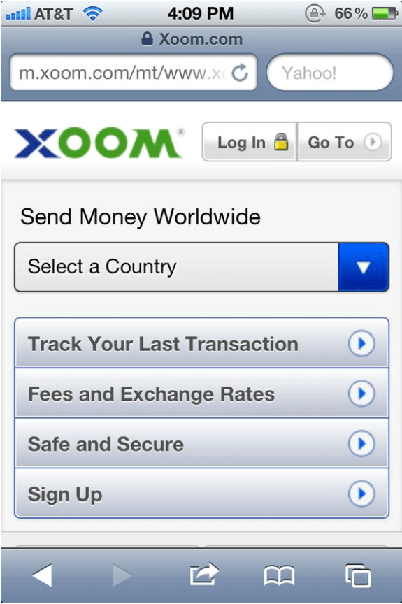 Xoom App for Canadians