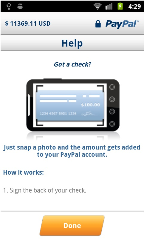 How to take a picture of a check using the Cash a Check service in the PayPal app?