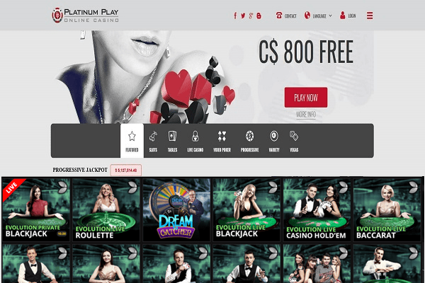 Platinum Play CAD live casino