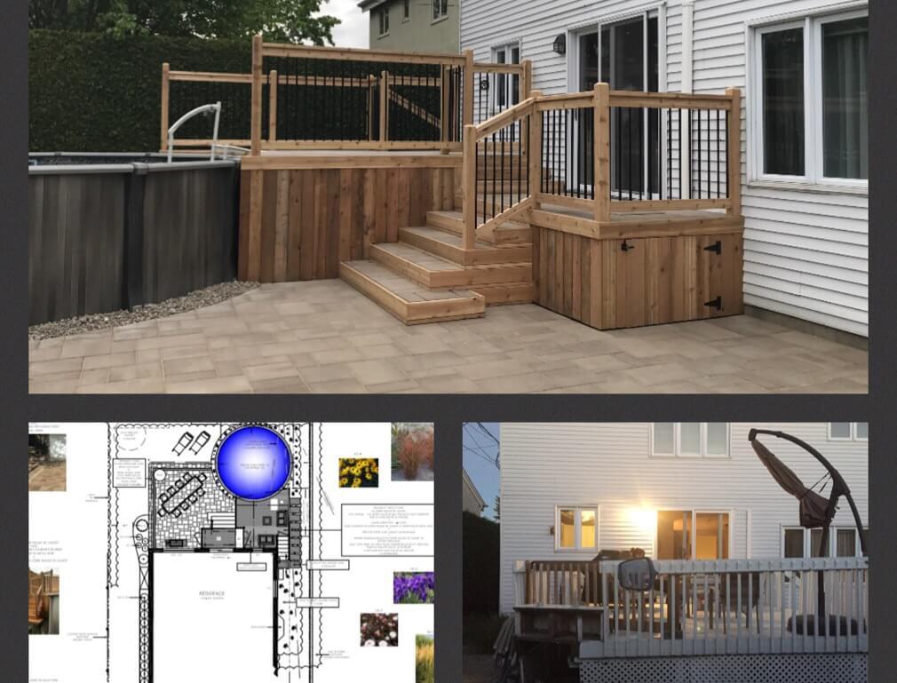avant apres projet balcon en bois terrasse pave uni paysagement pro jardin plan d amenagement paysager