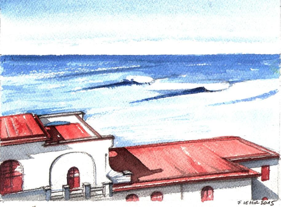 Aquarrelle à Guéthary par François Lehir