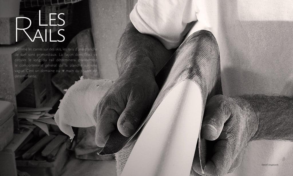 page interne du livre Surf & Shape : les rails - crédit photo Daniel's Longboard