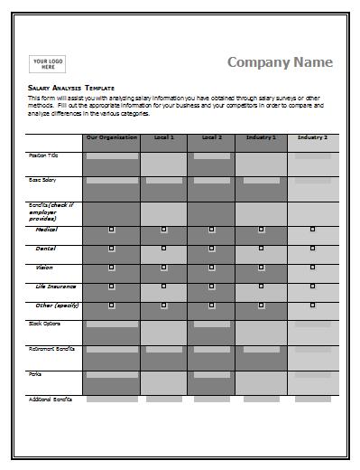 comparison table template excel