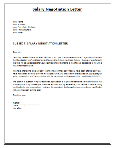 Salary negotiation letter 150 payslip templates ms for Salary negotiation email template