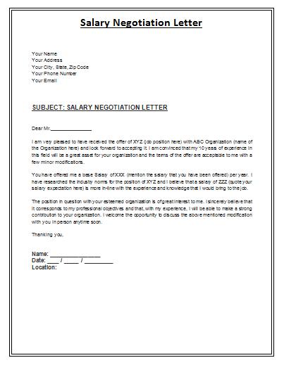Salary Negotiation Letter – Salary Negotiation Letter