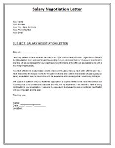 sample negotiation letter