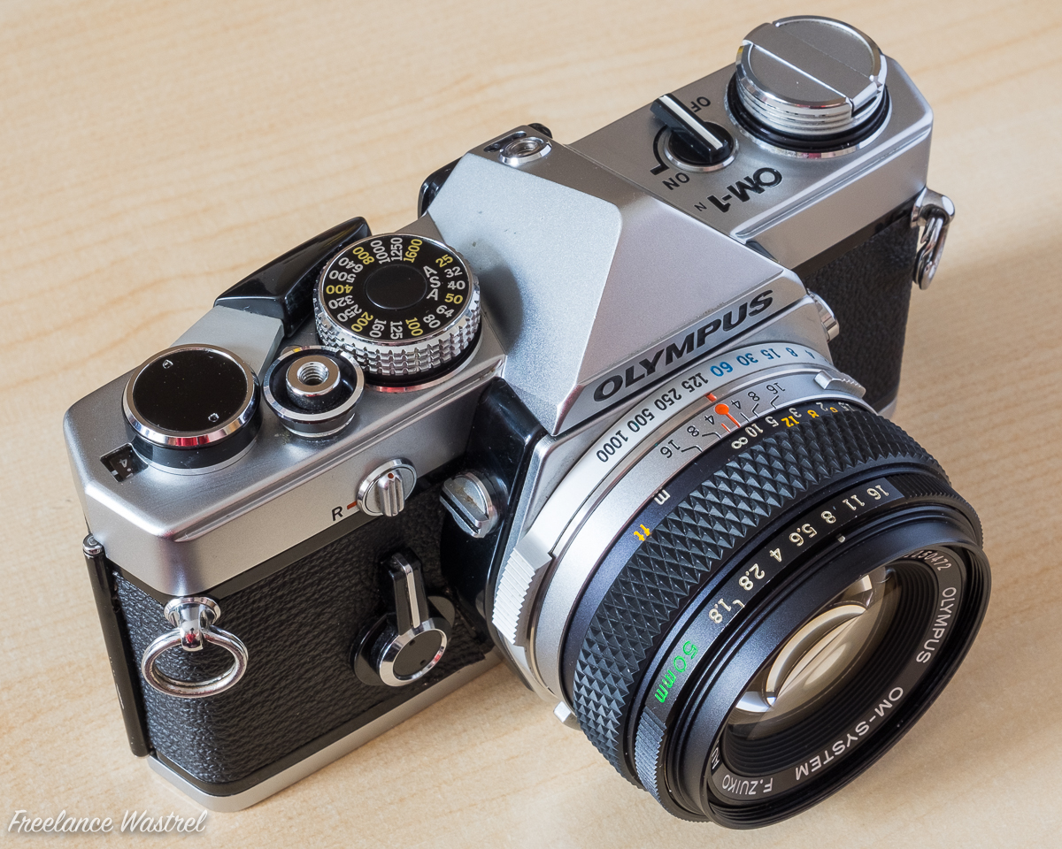 Olympus OM-1N  - top view showing placement of controls