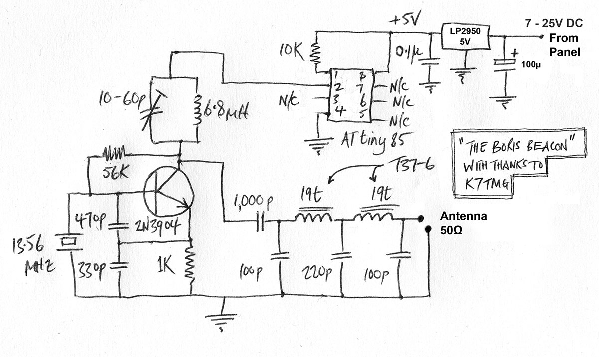 For the firmware, I found a very versatile and useful piece of AVR beacon  freeware written by Nick SV1DJG. If you use the circuit above, in which pin  2 of ...