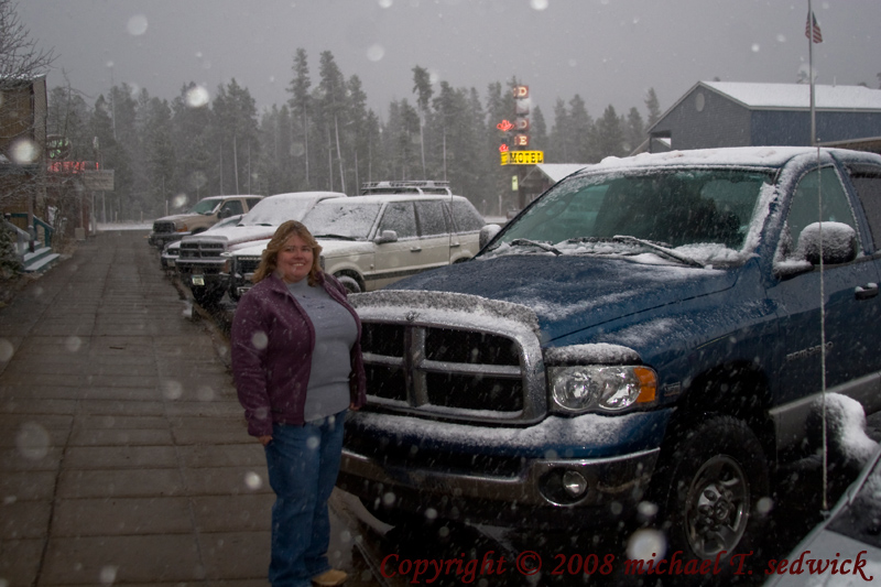 Diane in West Yellowstone During October Snows