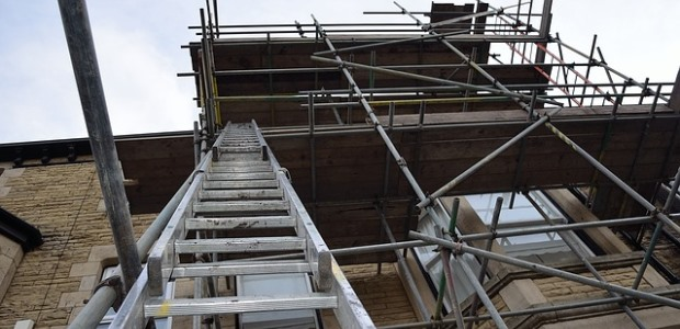scaffold and ladder