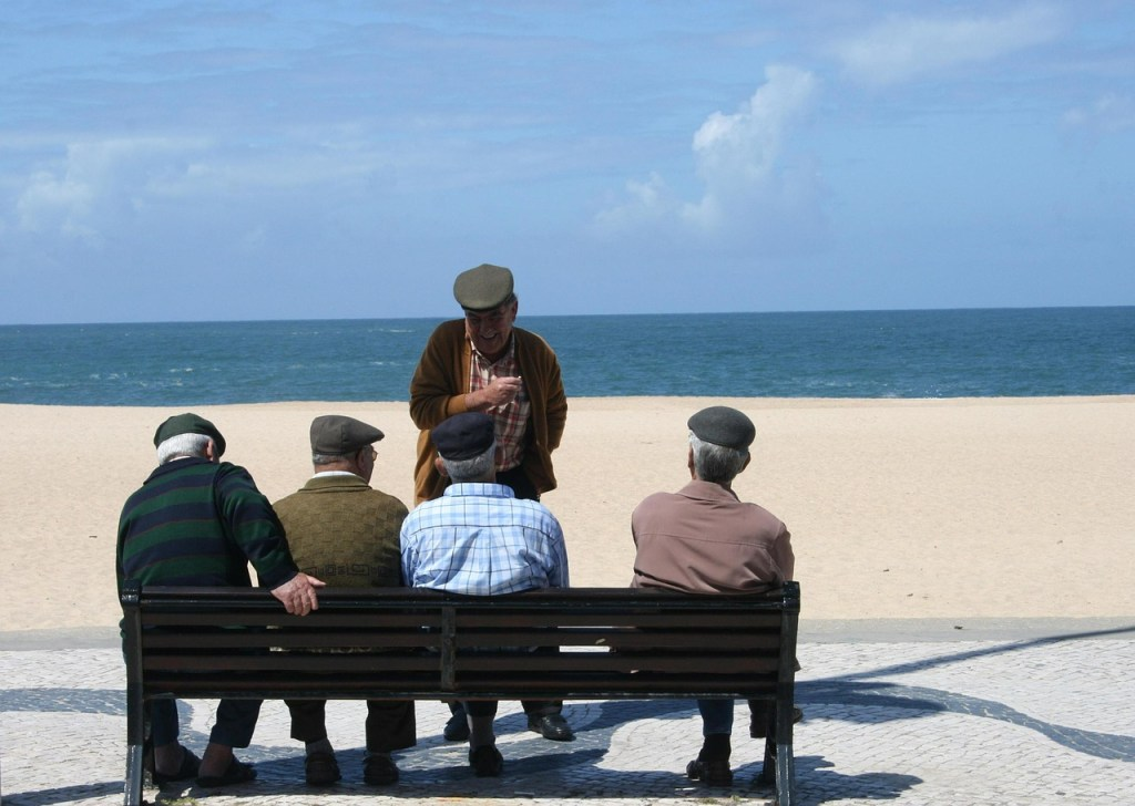old men, group of people, seaside