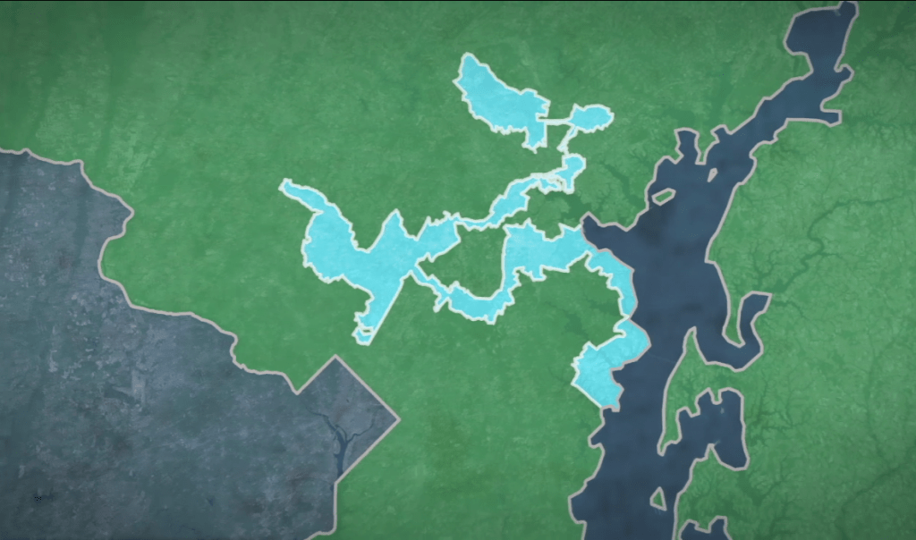 Gerrymandering  or how drawing irregular lines can impact an     An example of gerrymandering in Maryland s 3rd congressional district   Photo by PBS NewsHour Weekend