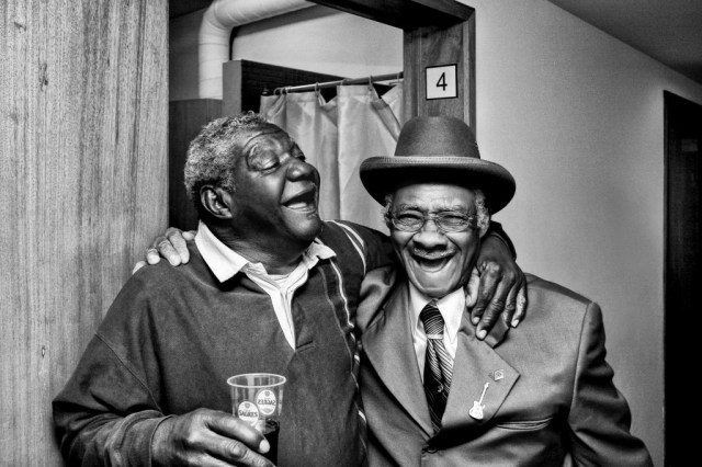 """Macavine Hayes & Little Freddie King, Porto, Portugal, 2006. """"When these artists spend time together performing on the road, they are inspired to play their best, to pull out old material and write new songs."""" Photo courtesy Tim and Denise Duffy"""