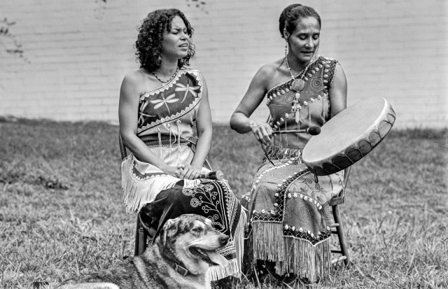 """Pura Fe Crescioni--Charly Lowry (left) & Ejo, Hillsborough, North Carolina, 2011. """"Our first meetings with Pura Fe forever changed out understanding of Southern music history. Previously we had seen that history as a black and white story. Pure Fe explained the intertwined lives and musical traditions of African and Native peoples in America."""" Photo courtesy Tim and Denise Duffy"""