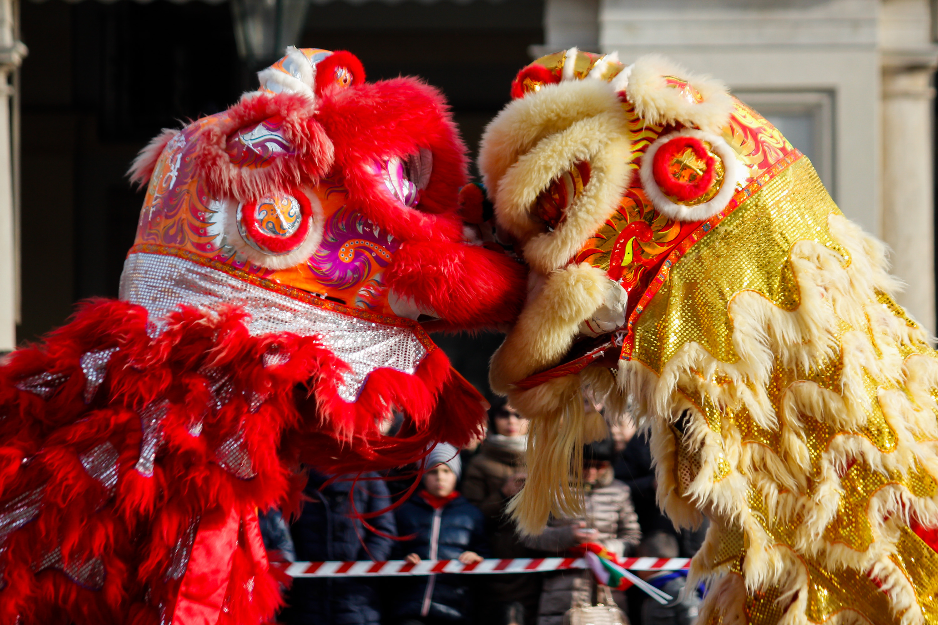 The famous dance of the dragon on the streets of downtown Turin, Italy during the Festival of the Chinese New Year on February 8, 2015. Photo by Elena Aquila/Pacific Press/LightRocket via Getty Images.