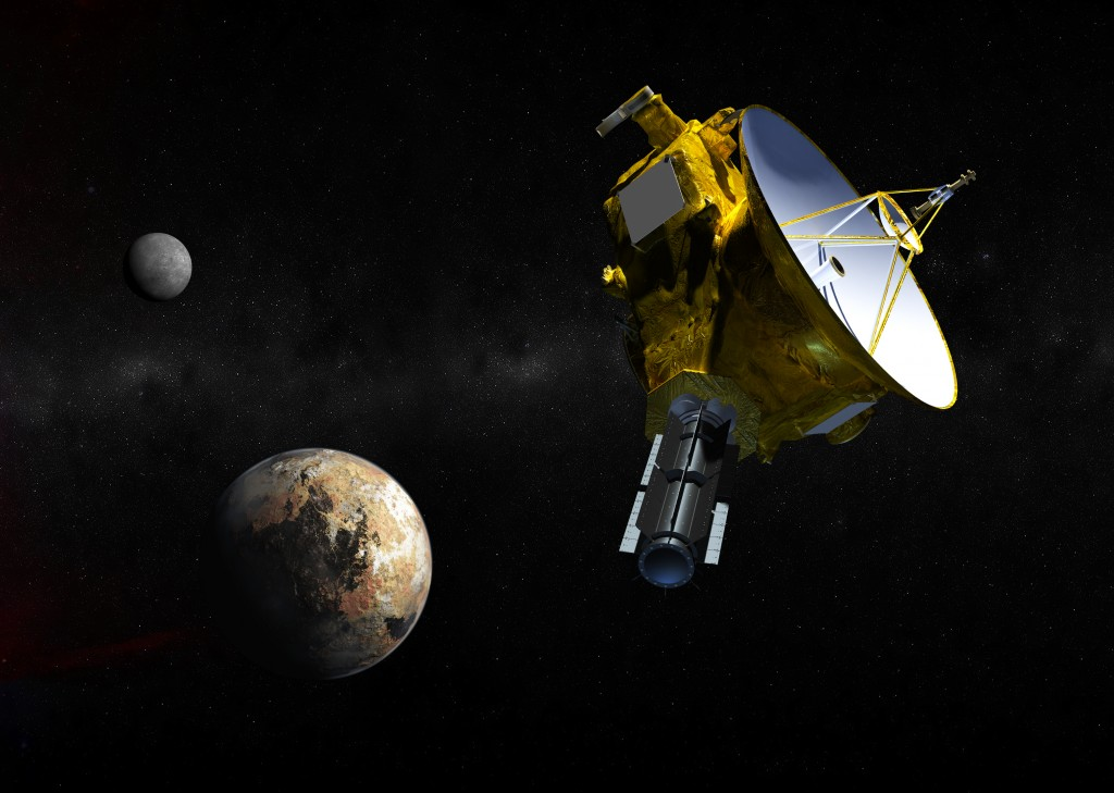 Artist rendering of the New Horizons probe approaching Pluto and one of its moons. Image by Johns Hopkins University Applied Physics Laboratory/Southwest Research Institute (JHUAPL/SwRI)
